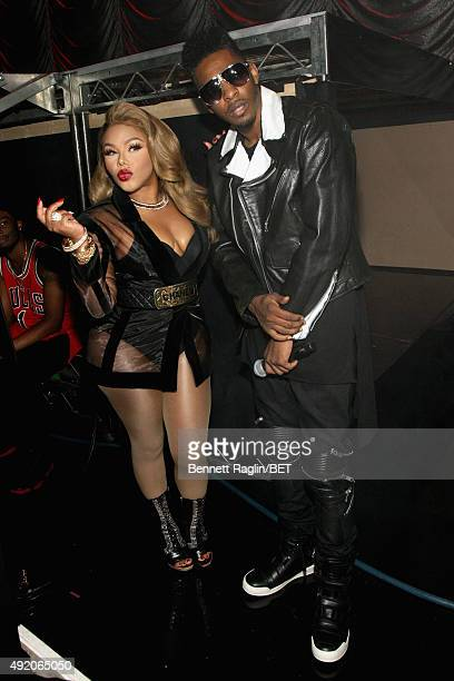 Rappers Lil Kim and King Los attend the BET Hip Hop Awards Show 2015 at the Atlanta Civic Center on October 9 2015 in Atlanta Georgia