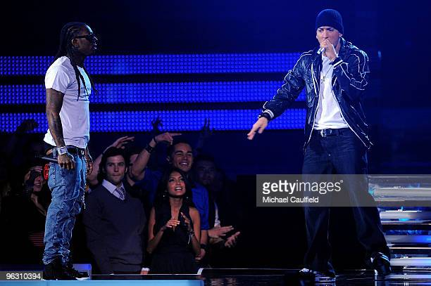 Rappers Lil Wayne and Eminem onstage at the 52nd Annual GRAMMY Awards held at Staples Center on January 31 2010 in Los Angeles California