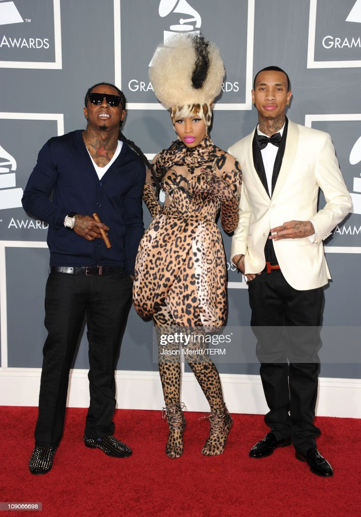 Rappers Lil Wayne, <a gi-track='captionPersonalityLinkClicked' href=/galleries/search?phrase=Nicki+Minaj+-+Performer&family=editorial&specificpeople=6362705 ng-click='$event.stopPropagation()'>Nicki Minaj</a> and Tyga arrive at The 53rd Annual GRAMMY Awards held at Staples Center on February 13, 2011 in Los Angeles, California.