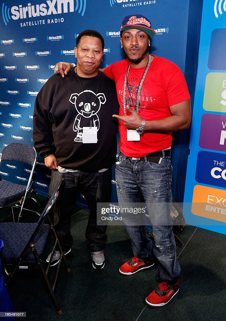 Rappers Mannie Fresh and Mystikal attend SiriusXM's Live Broadcast from Radio Row during Bowl XLVII week on February 1, 2013 in New Orleans, Louisiana.