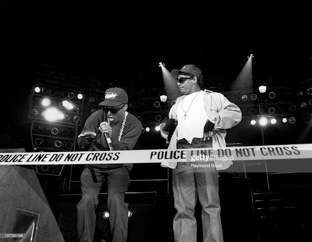 Rappers MC Ren and EazyE from NWA performs during the 'Straight Outta Compton' tour at Kemper Arena in Kansas City Missouri in 1989