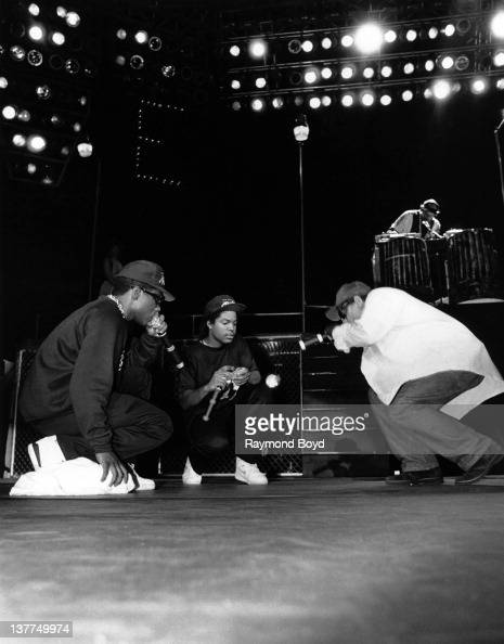 Rappers MC Ren Ice Cube and EazyE from NWA performs during the 'Straight Outta Compton' tour at Kemper Arena in Kansas City Missouri in 1989