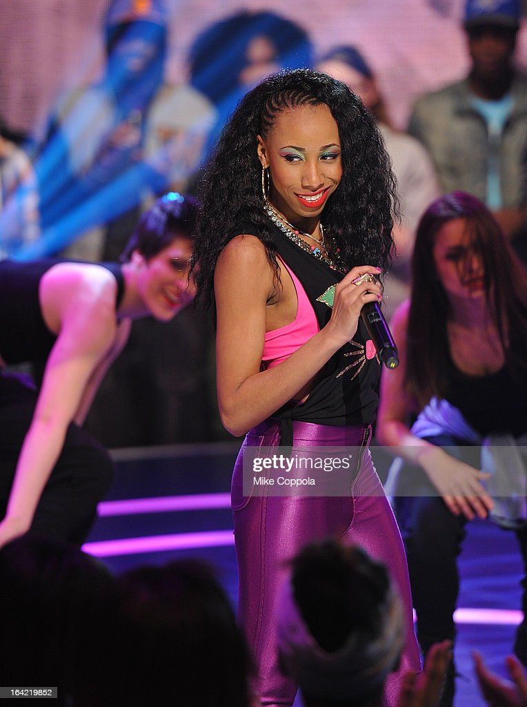 Rappers Miss Cookie perform on BET's 106th & Park show at 106 & Park Studio on March 20, 2013 in New York City.