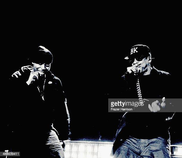 Rappers Nas and JayZ perform onstage during day 2 of the 2014 Coachella Valley Music Arts Festival at the Empire Polo Club on April 12 2014 in Indio...
