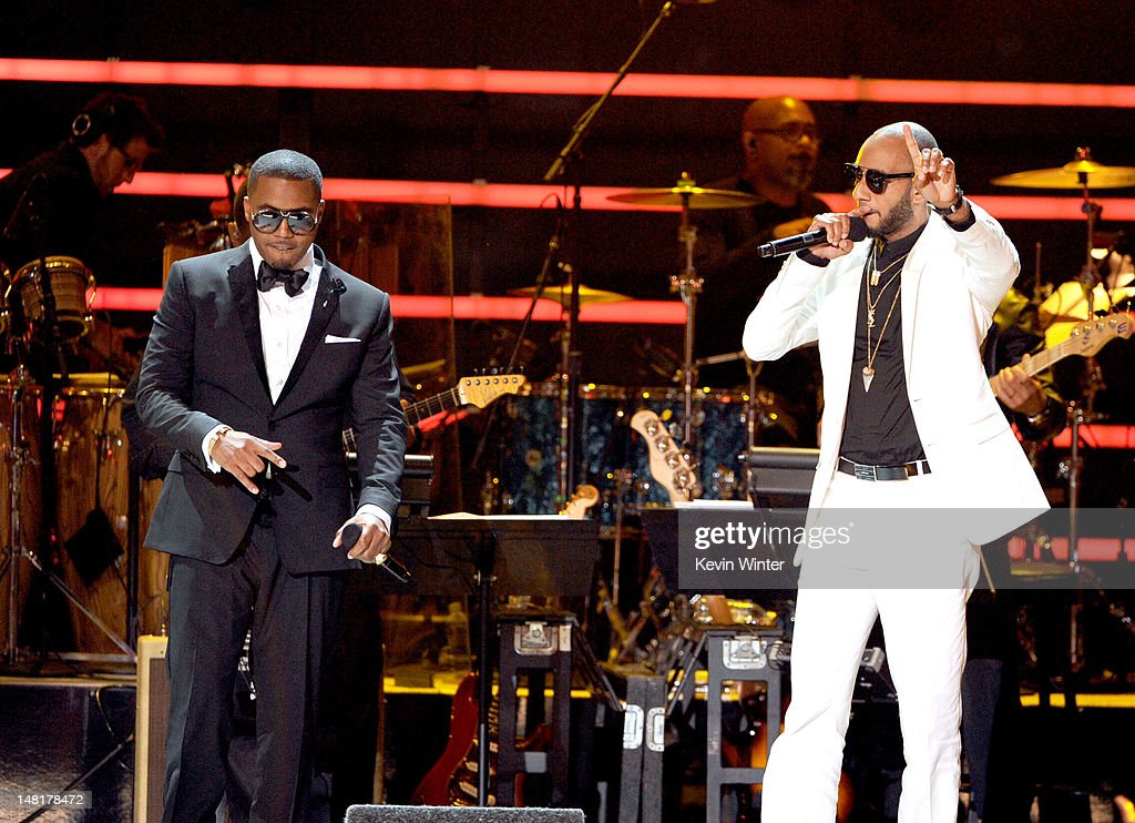 Rappers NAS (L) and <a gi-track='captionPersonalityLinkClicked' href=/galleries/search?phrase=Swizz+Beatz&family=editorial&specificpeople=567154 ng-click='$event.stopPropagation()'>Swizz Beatz</a> perform onstage during the 2012 ESPY Awards at Nokia Theatre L.A. Live on July 11, 2012 in Los Angeles, California.
