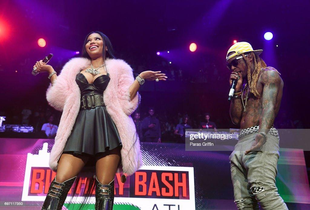 Rappers Nicki Minaj and Lil Wayne perform surprise performance at Hot 107.9 Birthday Bash: Pop Up Edition at Philips Arena on June 17, 2017 in Atlanta, Georgia.
