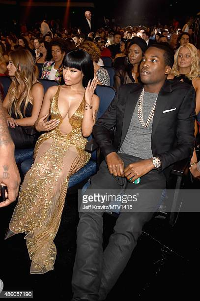 Rappers Nicki Minaj and Meek Mill attend the 2015 MTV Video Music Awards at Microsoft Theater on August 30 2015 in Los Angeles California