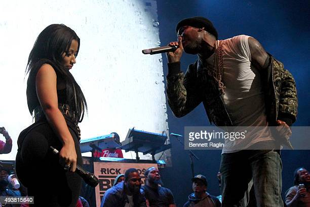 Rappers Nicki Minaj and Meek Mill perform onstage during 1051's Powerhouse 2015 at the Barclays Center on October 22 2015 in Brooklyn NY
