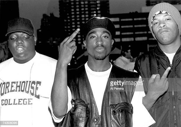 Rappers Notorious BIG Tupac Shakur and Redman pose for a portrait backstage at Tupac's show at the Palladium on July 23 1993 in New York New York