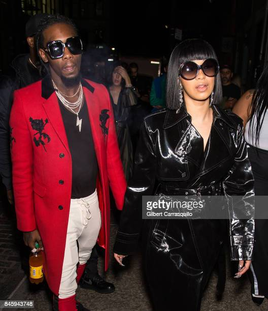 Rappers Offset and Cardi B are seen leaving the Helmut Lang Seen By Shayne Oliver fashion show during New York Fashion Week on September 11 2017 in...