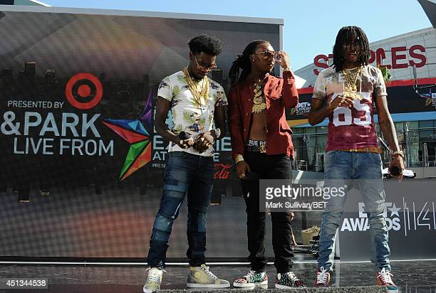 Rappers Offset Quavo and Takeoff of Migos perform onstage at 106 Park Live during the 2014 BET Experience At LA LIVE on June 27 2014 in Los Angeles...
