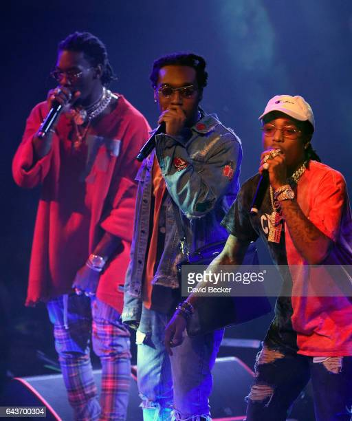 Rappers Offset Takeoff and Quavo of Migos perform at Drai's Beach Club Nightclub at The Cromwell Las Vegas on February 22 2017 in Las Vegas Nevada