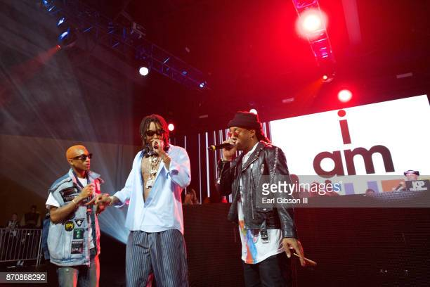 Rappers Pharrell Williams Wiz Khalifa and Ty Dolla $ign perform at ComplexCon 2017 on November 5 2017 in Long Beach California