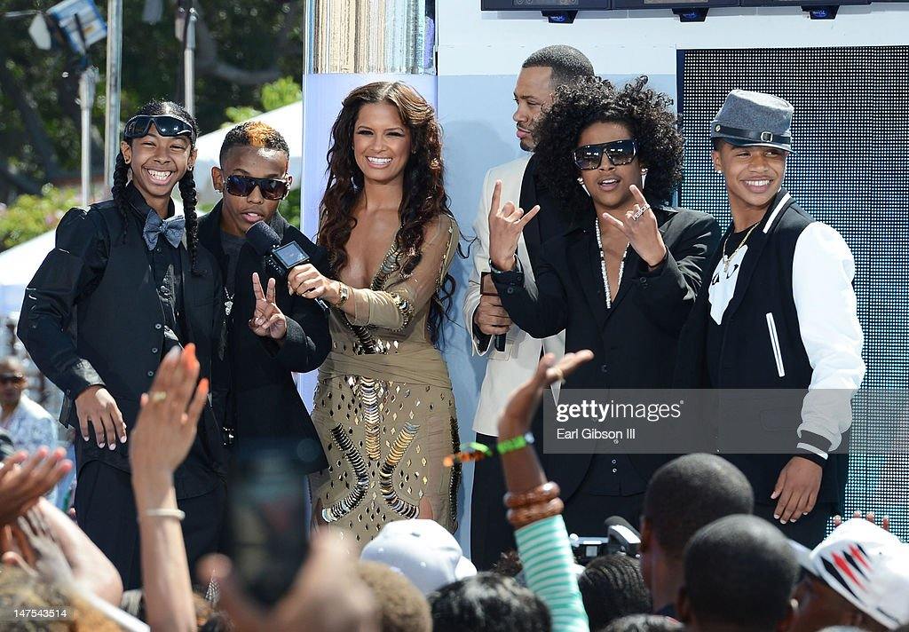 Rappers Princeton Prodigy TV Personalities Terrence J Rocsi Diaz rappers Ray Ray and Roc Royal of Mindless Behavior on stage at the 2012 BET Awards...