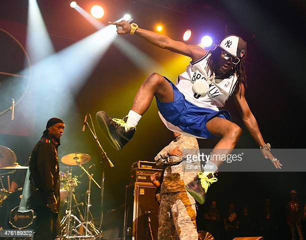 Rappers Professor Griff and Flavor Flav of Public Enemy perform at The Joint inside the Hard Rock Hotel Casino on June 6 2015 in Las Vegas Nevada