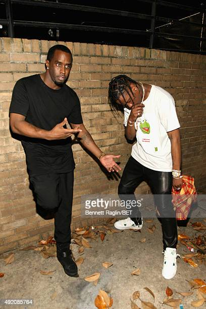 Rappers Puff Daddy and Travis Scott attend the BET Hip Hop Awards Show 2015 at the Atlanta Civic Center on October 9 2015 in Atlanta Georgia