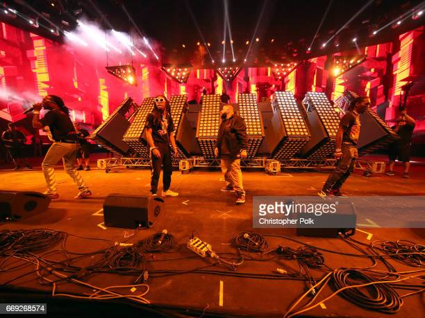 Rappers Quavo and Takeoff of Migos DJ Khaled and Offset of Migos perform at the Sahara stage during day 3 of the Coachella Valley Music And Arts...