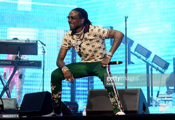 Rappers Quavo of Migos performs on the Coachella Stage during day 2 of the Coachella Valley Music And Arts Festival at the Empire Polo Club on April...