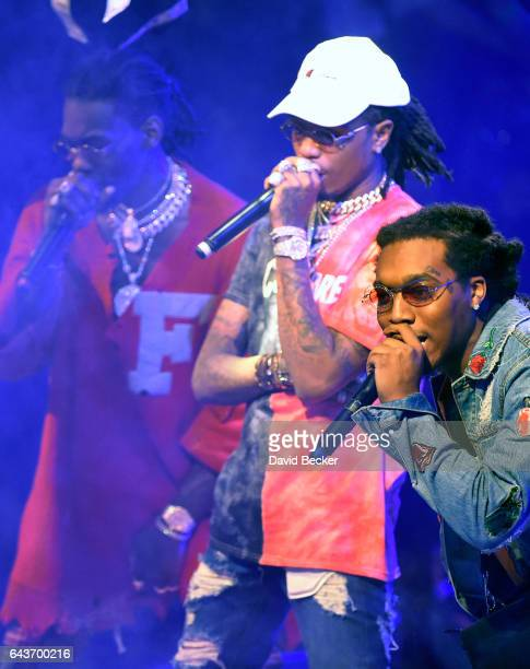 Rappers Quavo Offset and Takeoff of Migos perform at Drai's Beach Club Nightclub at The Cromwell Las Vegas on February 22 2017 in Las Vegas Nevada
