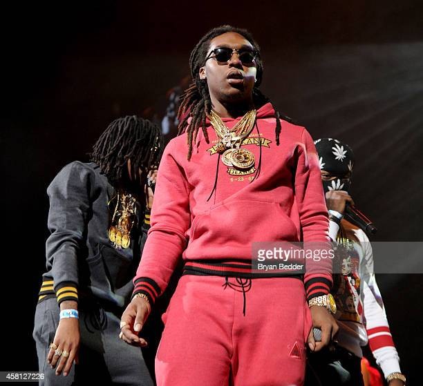 Rappers Quavo Offset and Takeoff of Migos perform on stage at Power 1051's Powerhouse 2014 at Barclays Center of Brooklyn on October 30 2014 in New...