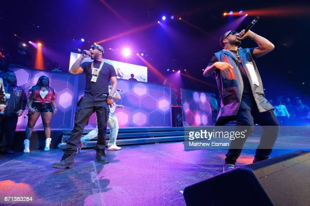 Rappers Remy Ma Swizz Beatz and French Montana perform live on stage for the Ruff Ryder's Reunion Tour 2017 at Barclays Center of Brooklyn on April...
