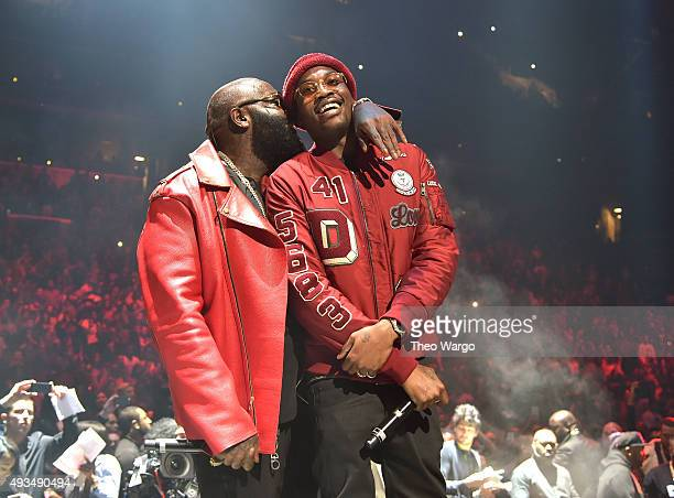 Rappers Rick Ross and Meek Mill perform onstage during TIDAL X 1020 Amplified by HTC at Barclays Center of Brooklyn on October 20 2015 in New York...