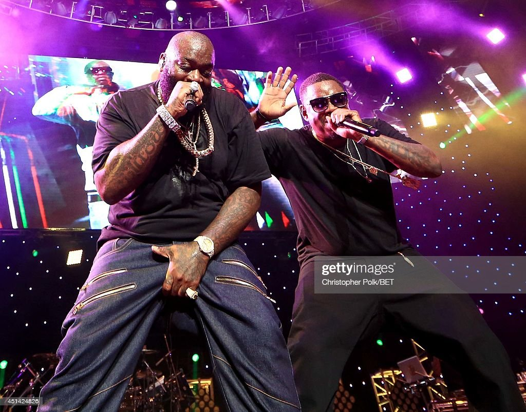 Rappers Rick Ross (L) and Whole Slab perform onstage at the OutKast, A$AP Rocky, Rick Ross, K. Michelle, August Alsina & Ty Dolla $ign Presented By Sprite during the 2014 BET Experience At L.A. LIVE on June 28, 2014 in Los Angeles, California.