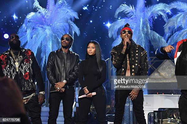 Rappers Rick Ross Future Nicki Minaj and August Alsina perform onstage at the 2016 American Music Awards at Microsoft Theater on November 20 2016 in...