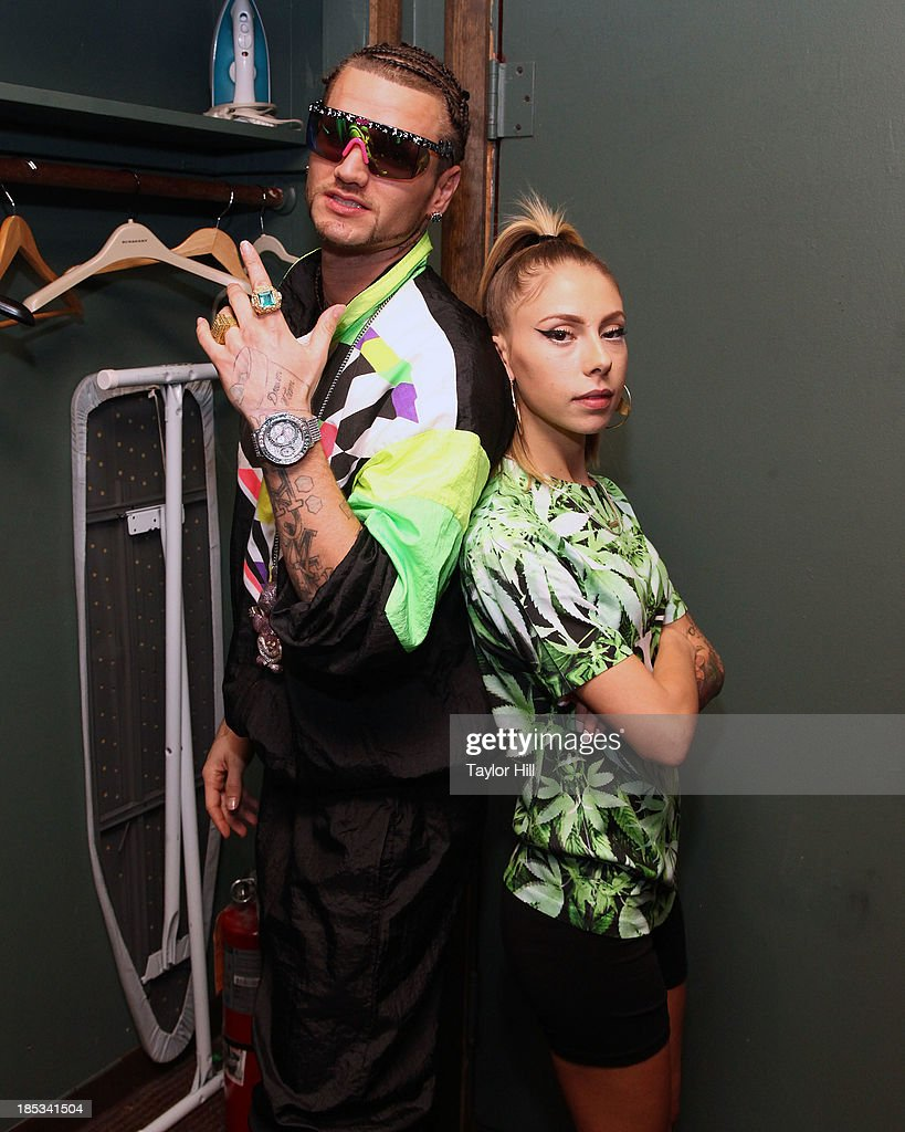 Rappers Riff Raff and Lil Debbie pose for a portrait at Irving Plaza on October 18, 2013 in New York City.