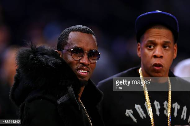 Rappers Sean Combs and Jay Z attend the 2015 NBA AllStar Game at Madison Square Garden on February 15 2015 in New York City NOTE TO USER User...