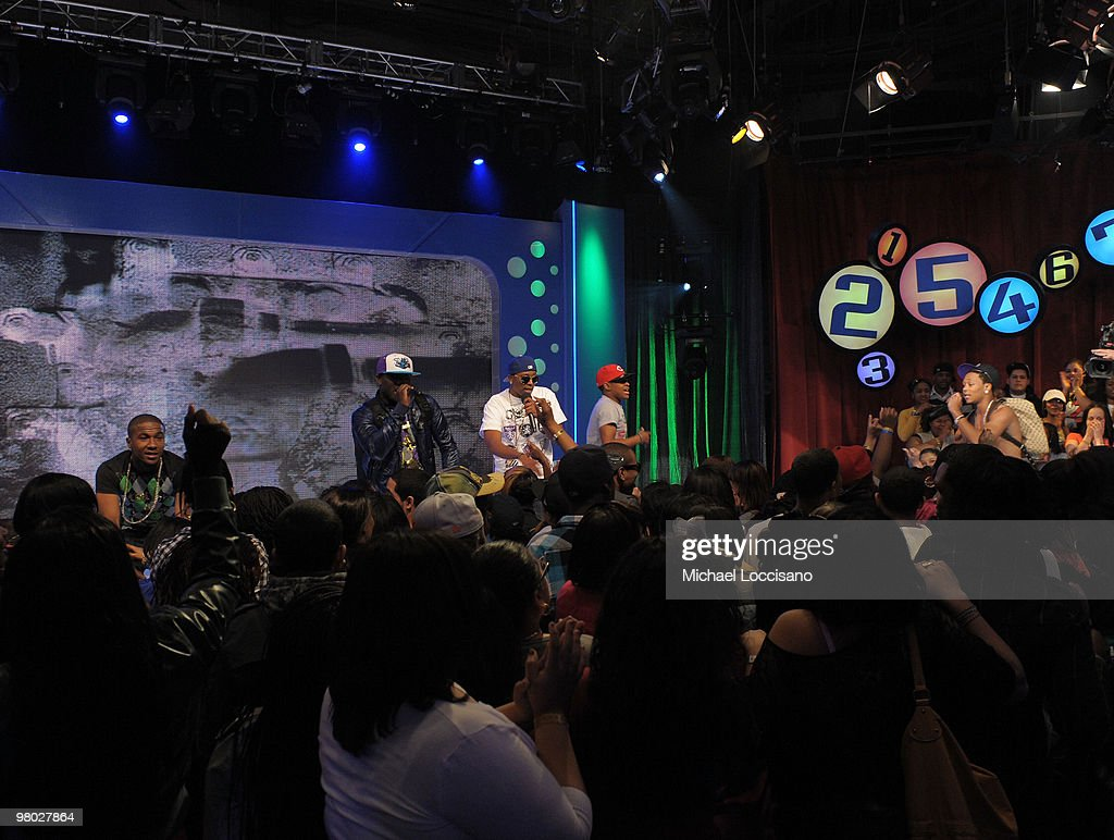 Rappers (L-R) Shawn, K Smith, Valentino, C-Active and Romeo of the College Boyys perform on BET's '106 & Park' at BET Studios on March 24, 2010 in New York City.