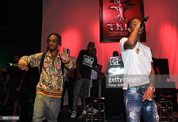 Rappers Slim Jimmy and Swae Lee of Rae Sremmurd perform on stage at 'SremmLife 2' private listening session at TreeSound Studios on August 3 2016 in...