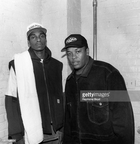 Rappers Snoop Doggy Dogg and Dr Dre poses for a photo after Snoop's performance at the Regal Theater in Chicago Illinois in 1993