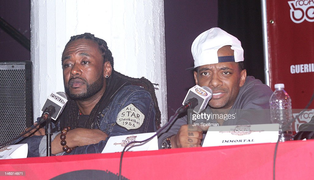 Rappers Supernatural and Prodigy attend the 2012 Rock The Bells Festival Press Conference And Fan Appreciation Party on June 13, 2012 in New York City.