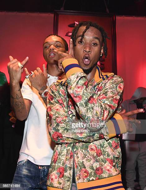 Rappers Swae Lee and Slim Jimmy of Rae Sremmurd attend 'SremmLife 2' private listening session at TreeSound Studios on August 3 2016 in Norcross...