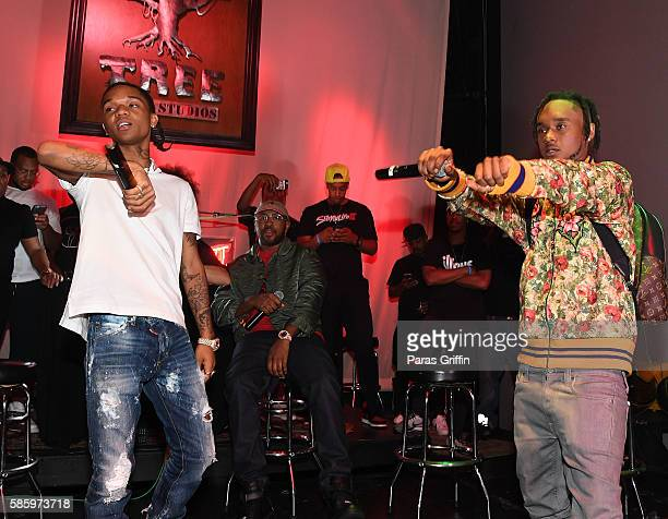 Rappers Swae Lee and Slim Jimmy of Rae Sremmurd performs on stage at 'SremmLife 2' private listening session at TreeSound Studios on August 3 2016 in...