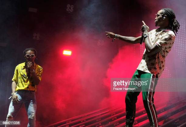 Rappers Takeoff and Quavo of Migos perform at the Outdoor Stage during day 2 of the Coachella Valley Music And Arts Festival at the Empire Polo Club...