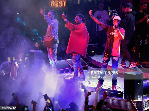 Rappers Takeoff Offset and Quavo of Migos perform at Drai's Beach Club Nightclub at The Cromwell Las Vegas on February 22 2017 in Las Vegas Nevada