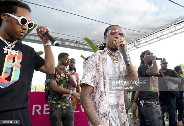 Rappers Takeoff Quavo and Offset of hip hop group Migos perform onstage during #REVOLVEfestival at Coachella with Moet Chandon on April 16 2017 in La...