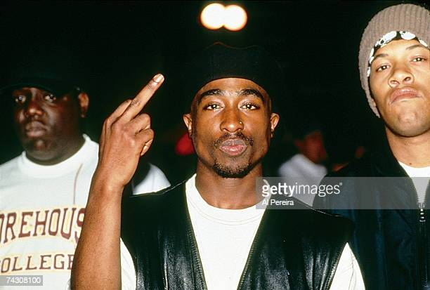 Rappers The Notorious BIG Tupac Shakur and Redman backstage at a Tupac Shakur performance at the Palladium on July 23 1993 in New York New York