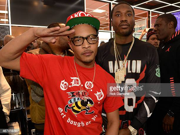 Rappers TI and Meek Mill make a special appearance at The PUMA Lab Powered by Foot Locker at Foot Locker at the Gallery at South Dekalb Mall on...