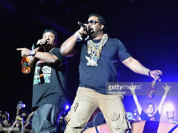 Rappers Too $hort and Busta Rhymes perform with Girl Talk onstage during day 1 of the 2014 Coachella Valley Music Arts Festival at the Empire Polo...