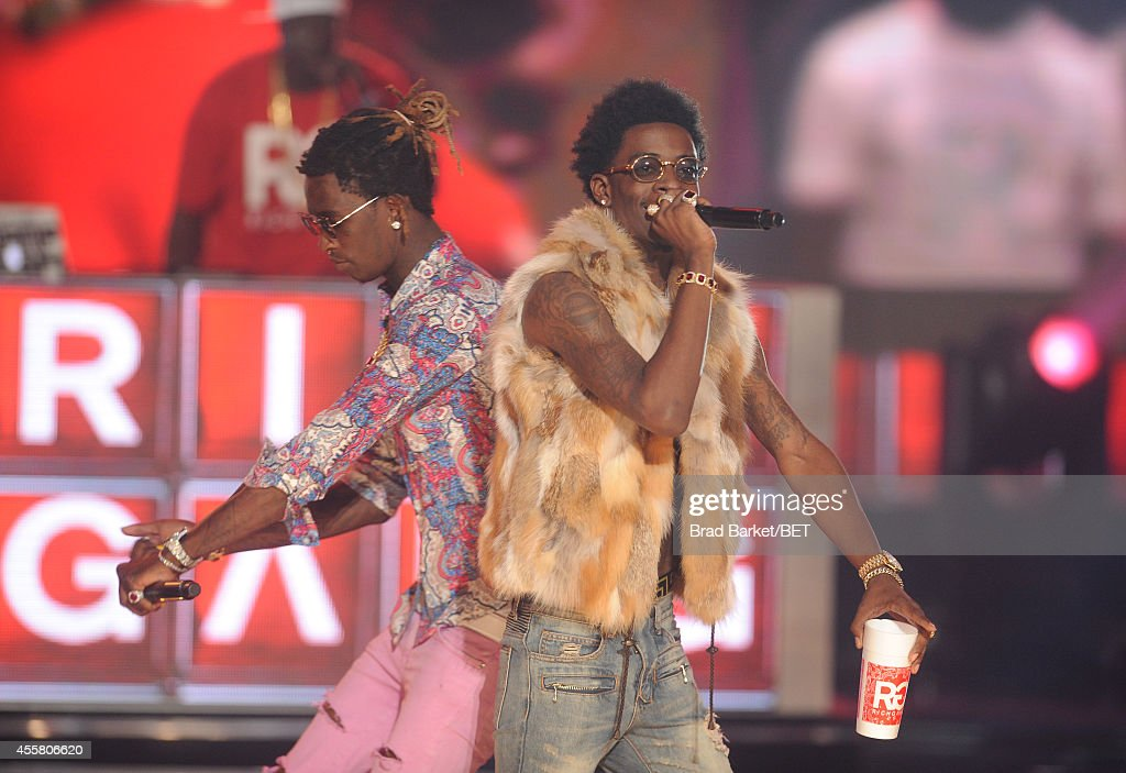 Rappers Young Thug and Rich Homie Quan perform onstage during the BET Hip Hop Awards 2014 at Boisfeuillet Jones Atlanta Civic Center on September 20...