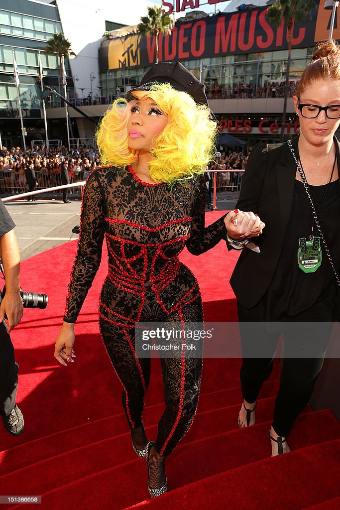 Rapper/singer <a gi-track='captionPersonalityLinkClicked' href=/galleries/search?phrase=Nicki+Minaj+-+Performer&family=editorial&specificpeople=6362705 ng-click='$event.stopPropagation()'>Nicki Minaj</a> arrives at the 2012 MTV Video Music Awards at Staples Center on September 6, 2012 in Los Angeles, California.