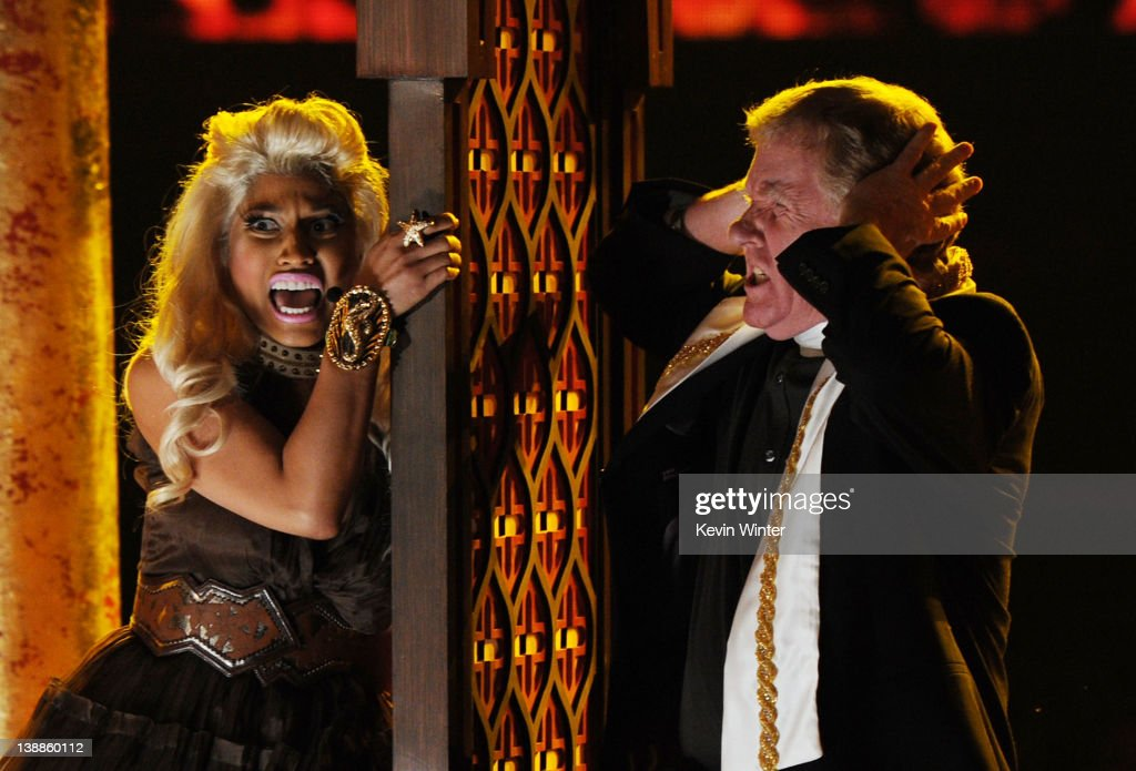 Rapper/singer <a gi-track='captionPersonalityLinkClicked' href=/galleries/search?phrase=Nicki+Minaj+-+Performer&family=editorial&specificpeople=6362705 ng-click='$event.stopPropagation()'>Nicki Minaj</a> performs onstage at the 54th Annual GRAMMY Awards held at Staples Center on February 12, 2012 in Los Angeles, California.