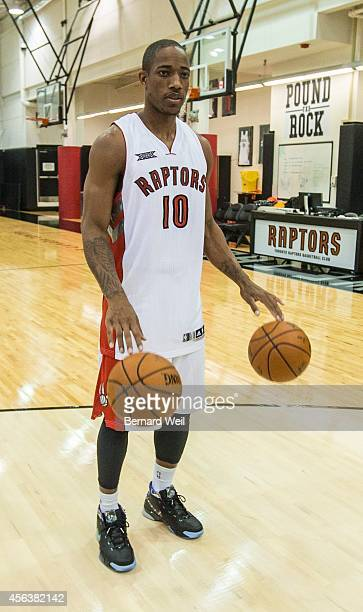 Raptor DeMar DeRozan bounces balls while waiting his turn to be photographed on the team's practise court Players and coaching staff had official...