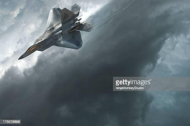 F-22 Raptor Dives Through a Dramatic Stormy Sky