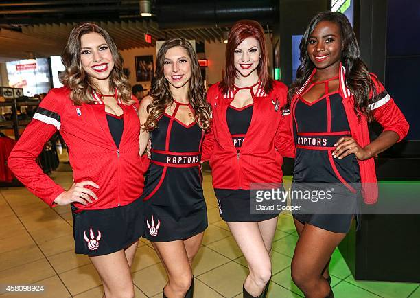 TORONTO ON OCTOBER 29 Raptors dance pack members greet the fans inside the arena at the first regular season game at the Air Canada Centre in Toronto...