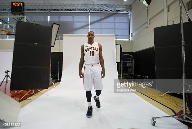 Raptors DeMar DeRozan walks toward the camera during a photo shoot on the team's practise court Players and coaching staff had official photos taken...
