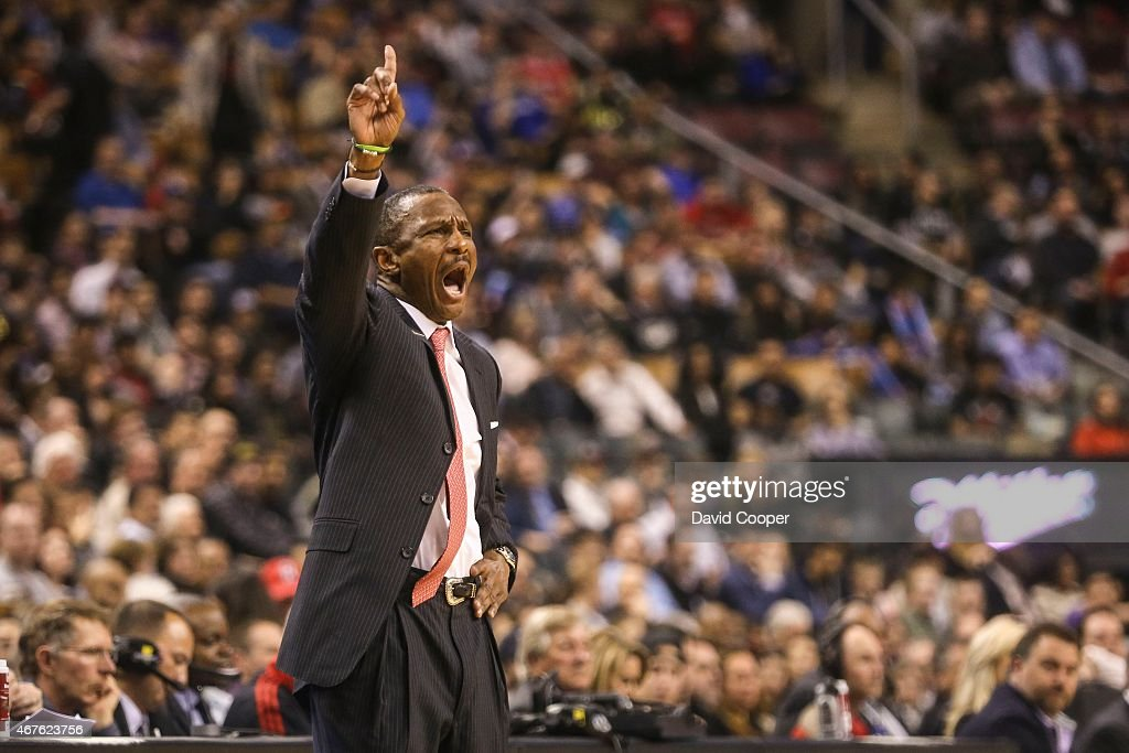 Raptors Dwane Casey encourages the troops during the game between the Toronto Raptors and the Chicago Bulls at the Air Canada Centre